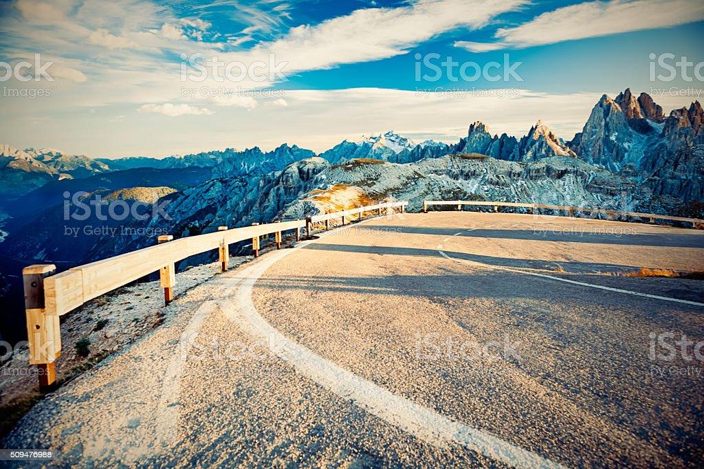 Mountain's road in Dolomities, Italy. stock photo