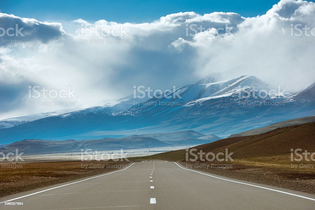 Mountains road in Siberia, Russia stock photo