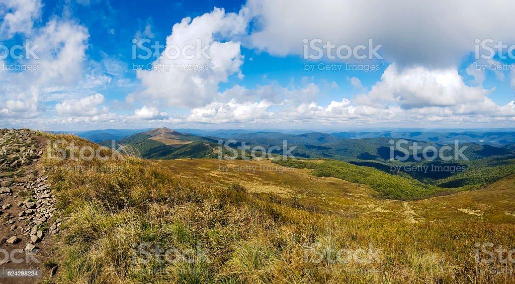Mountains scenery. Panorama of Bieszczady stock photo
