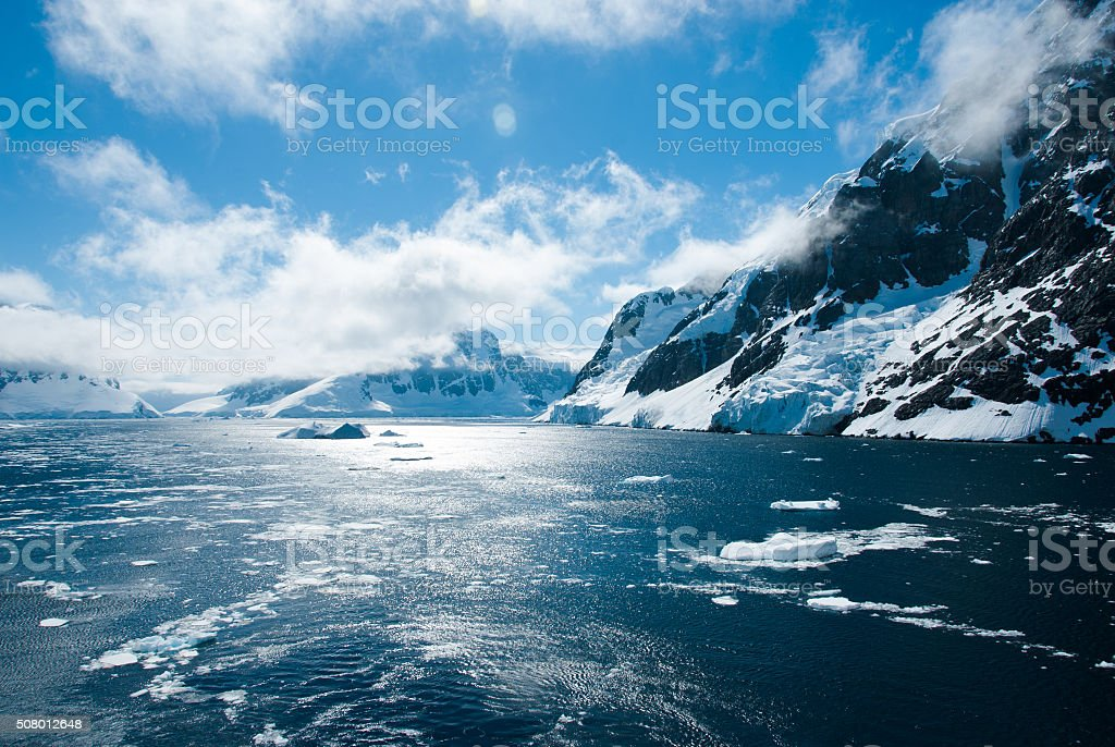 Mountains scenic view in Antarctica stock photo