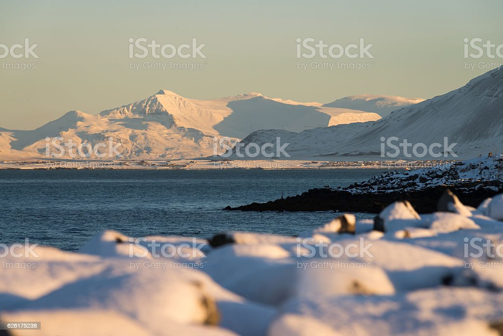 Mountains seen from Reykjavik city, Iceland stock photo