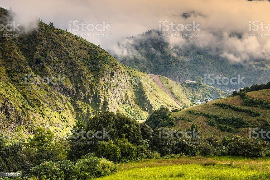 Mountains shrouded in clouds, Arunachal Pradesh, India. stock photo