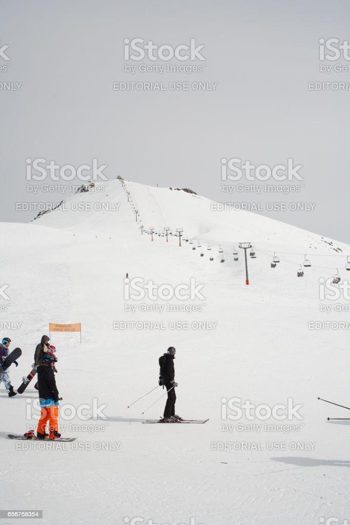 Gudauri, Georgia - March 6, 2017. Mountains ski resort Gudauri Georgia - nature and sport background stock photo