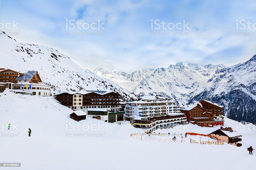 Mountains ski resort Solden Austria stock photo