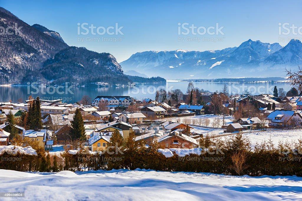 Mountains ski resort St. Gilgen Austria stock photo
