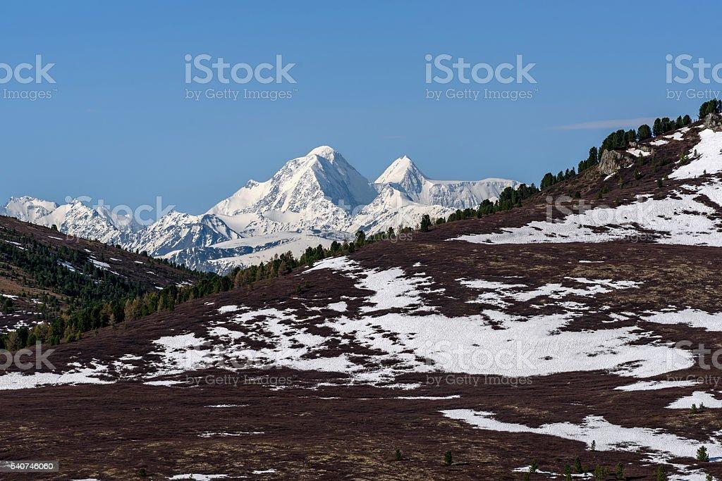 mountains snow peak top sky stock photo