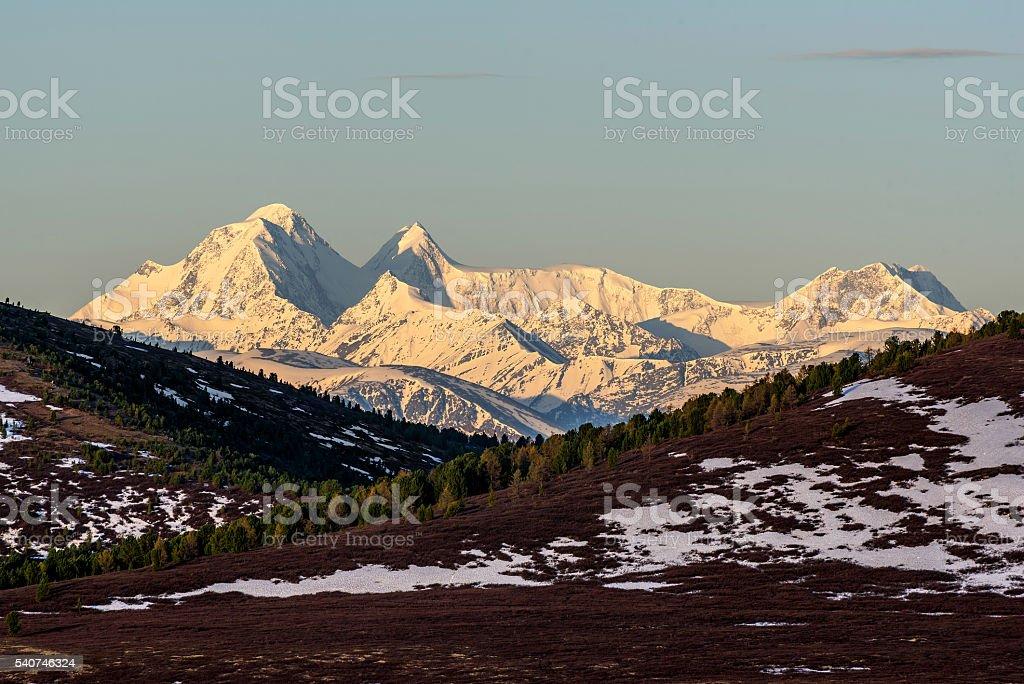 mountains snow peak top sunrise stock photo