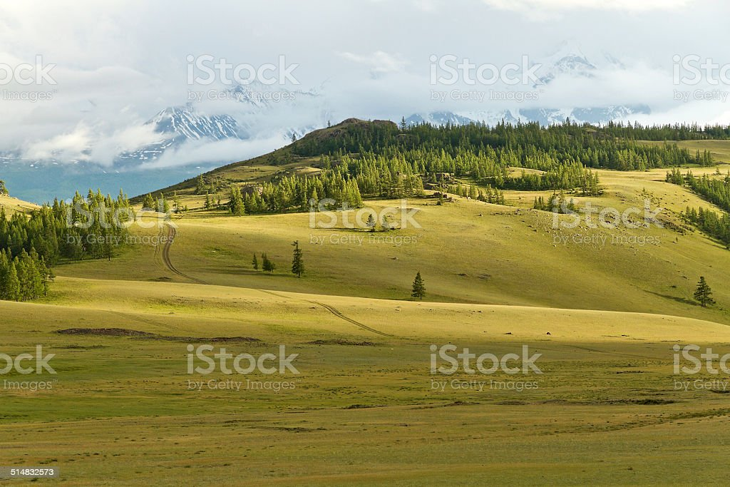 Mountains steppe landscape stock photo