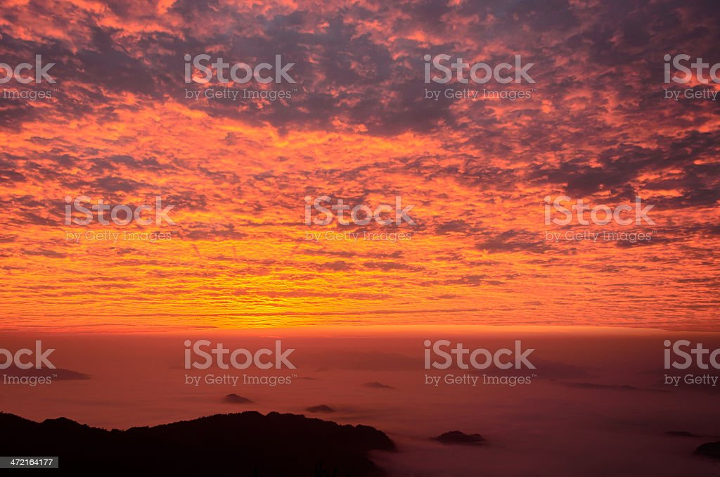 Mountains Sunrise Landscape in Thailand stock photo