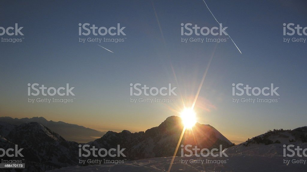 Mountains sunset royalty-free stock photo