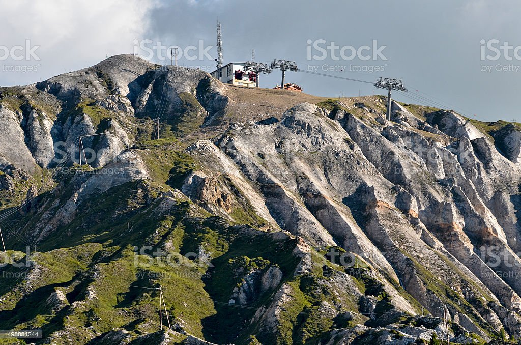 Mountains to La Plagne in France stock photo