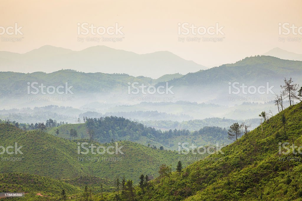 mountains under mist royalty-free stock photo