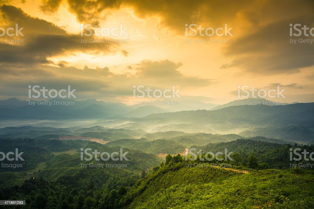 mountains under mist royalty-free stock photo