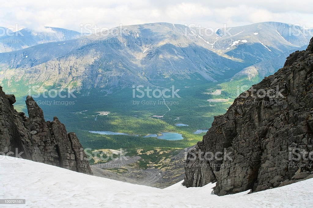 Mountains valley in north of Russia stock photo