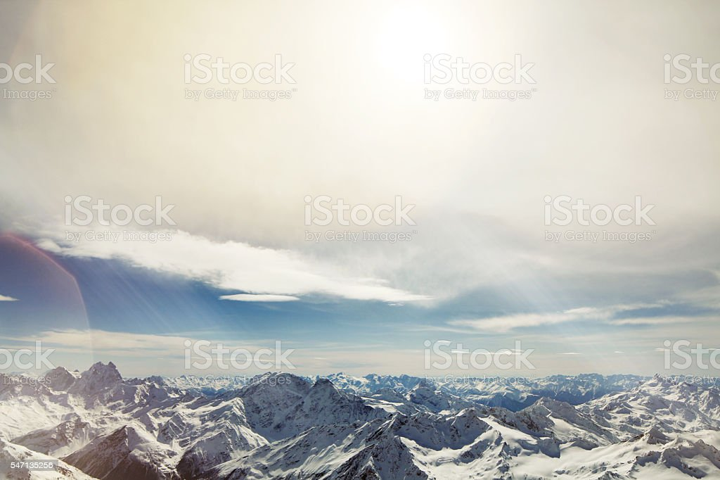 Mountains, view from peack Elbrus stock photo