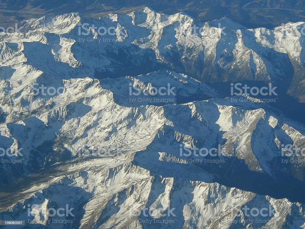Mountains viewed from the air royalty-free stock photo