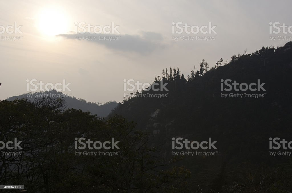 Mountains with fog and sunshine royalty-free stock photo