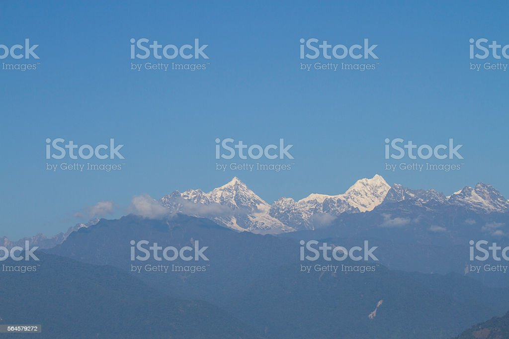 Mountains with snow in winter,India stock photo