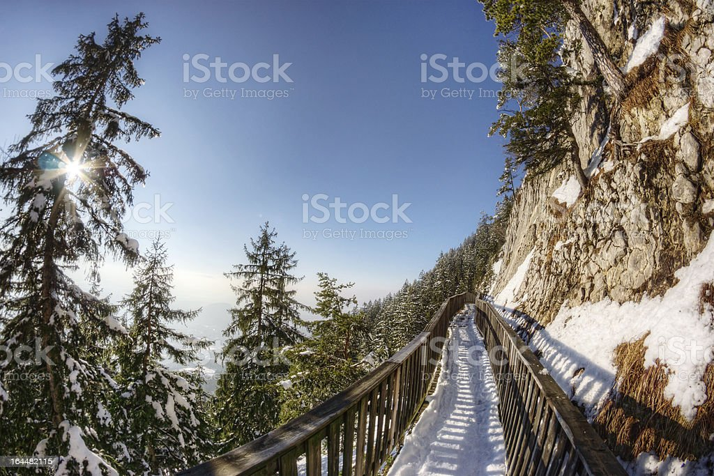 Mountainside Walkway in the Alps royalty-free stock photo