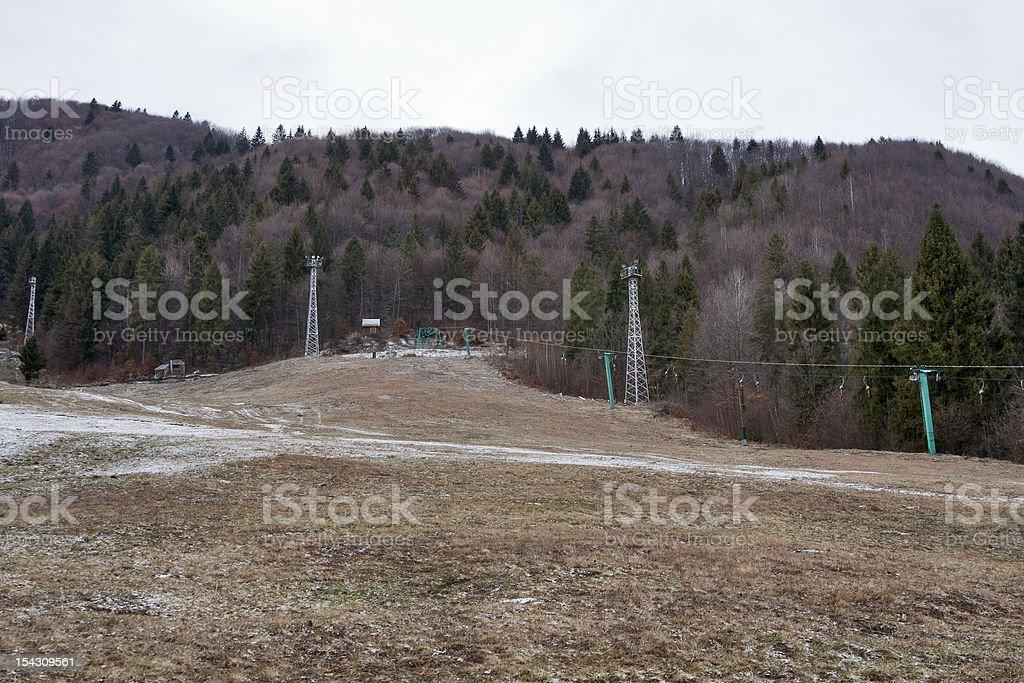 Mountain-skier route without snow royalty-free stock photo