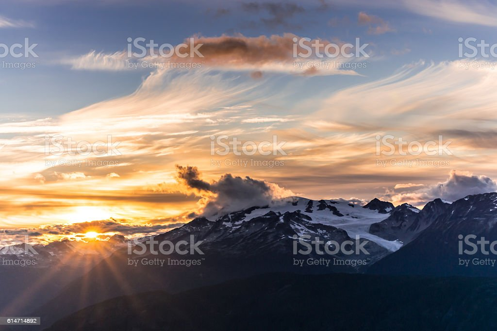 Mountaintop sunset stock photo