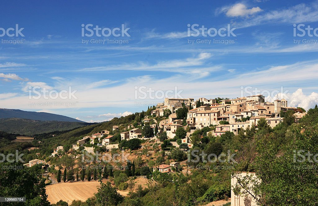 Mountaintop village in France royalty-free stock photo