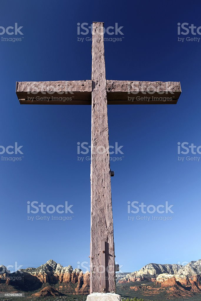 Mountaintop Wooden Cross stock photo