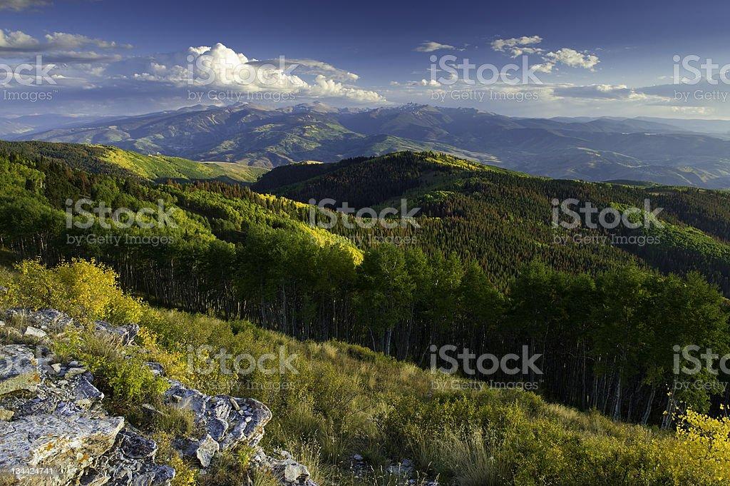 Mountan Vista View of Golden Fall Color Aspens Landscape royalty-free stock photo