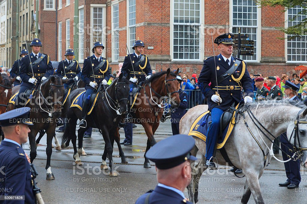 mounted brigade on Lange Voorhout during Prinsjesdag in The Hague stock photo