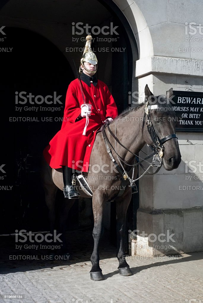 Mounted Guard on duty at Horse Guards, London stock photo