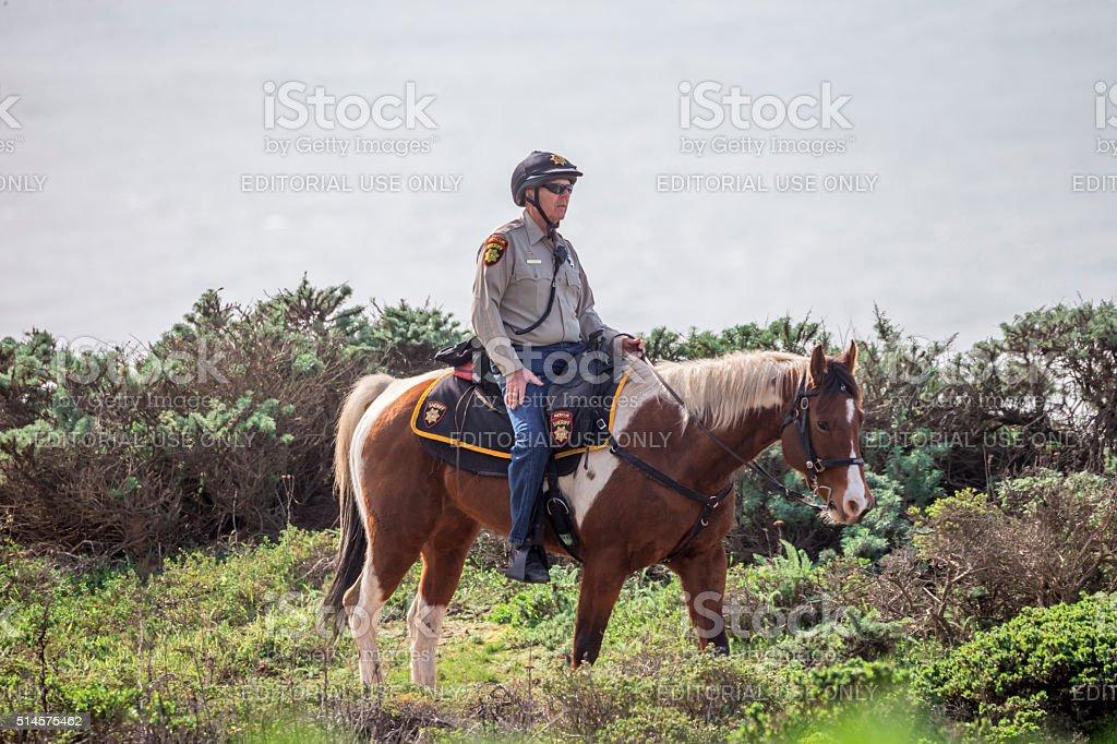 Mounted police at Half moon bay, California stock photo