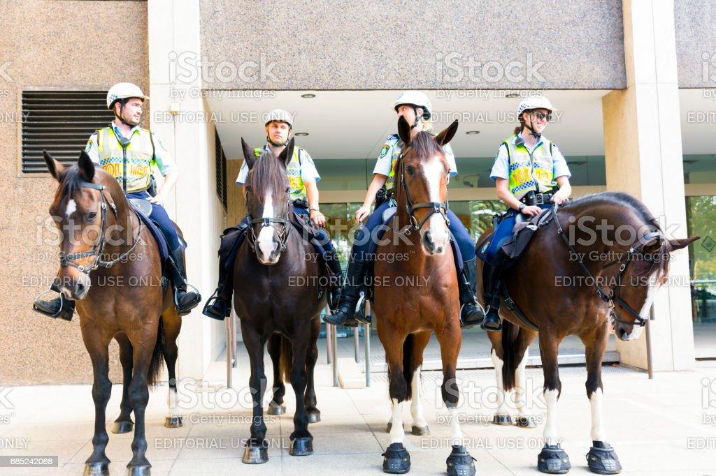 Mounted police of NSW Australia in Sydney city stock photo