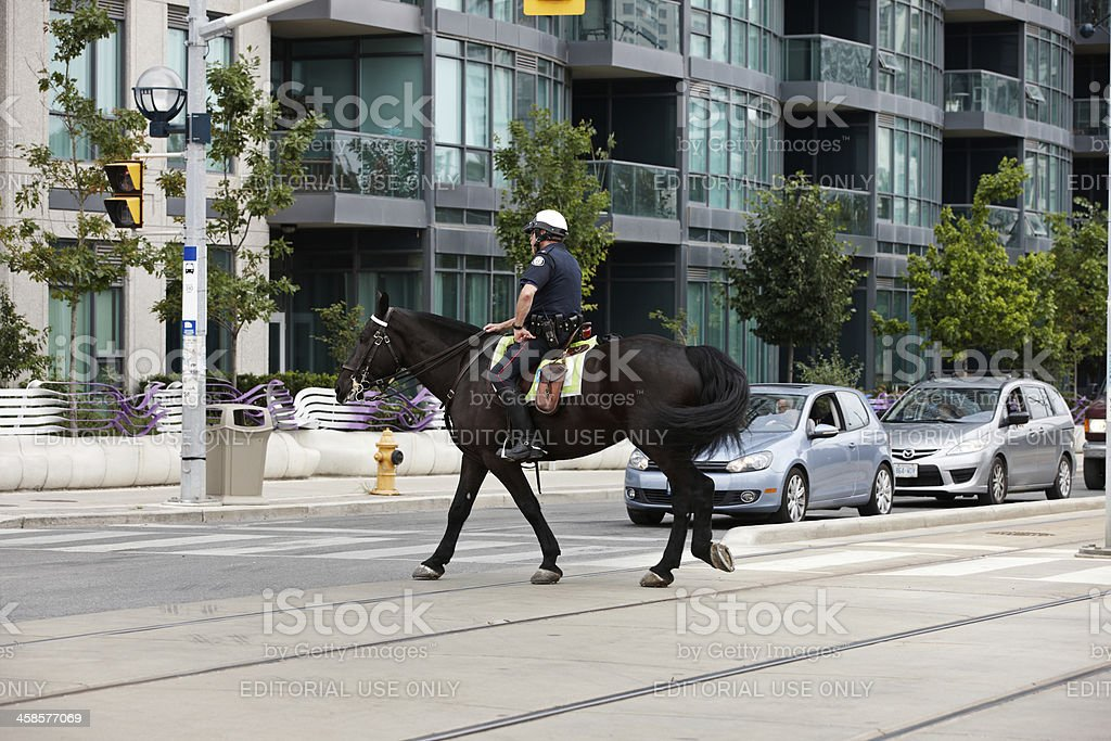 Mounted police officer on duty at Toronto's waterfront district royalty-free stock photo