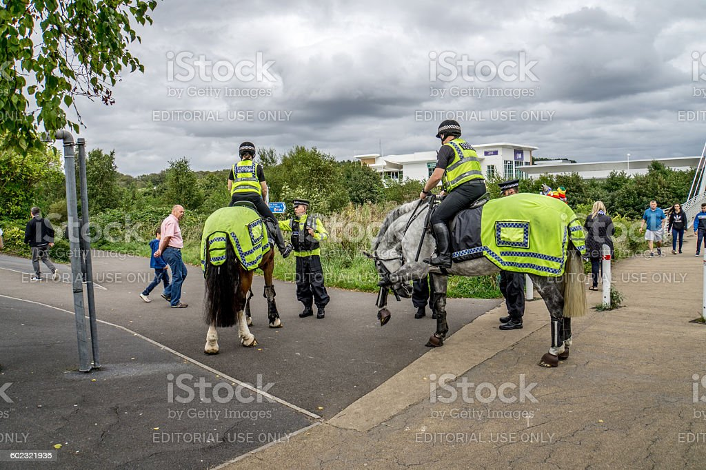 Mounted police officers on duty at football match stock photo