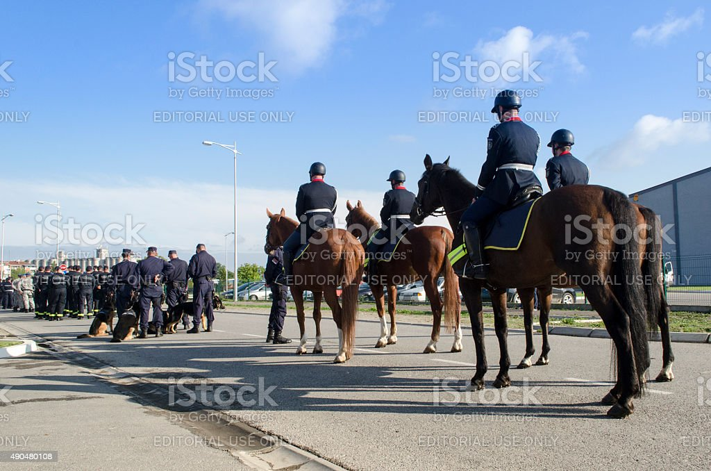 Mounted police officers stock photo