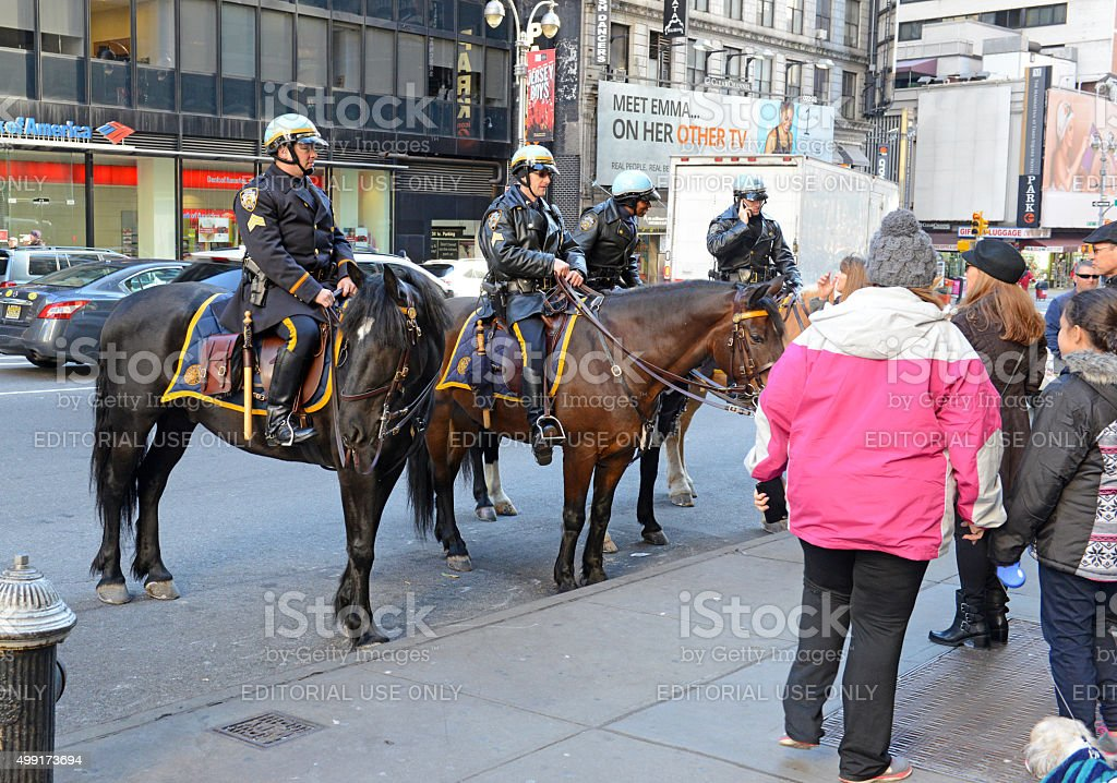 NYPD Mounted Police Unit in New York City stock photo