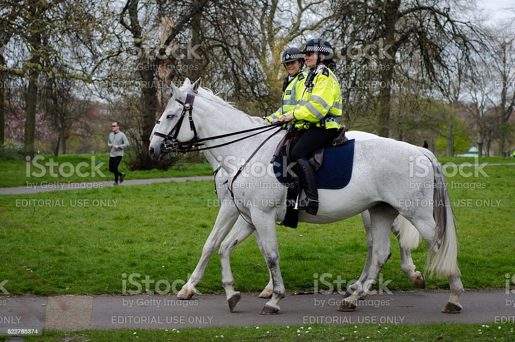 Mounted police women riding in Hyde Park, London stock photo