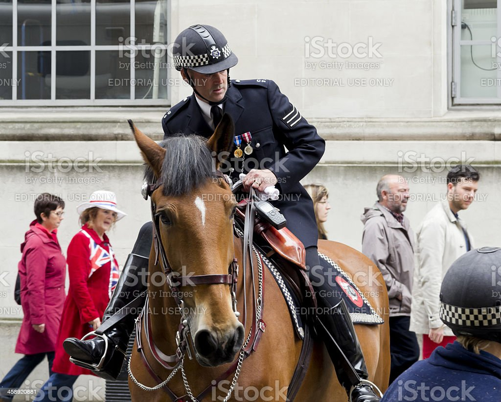 Mounted policeman stock photo