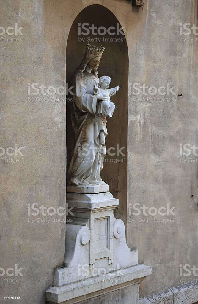 Mounted sculpture of the Virgin, Nice royalty-free stock photo