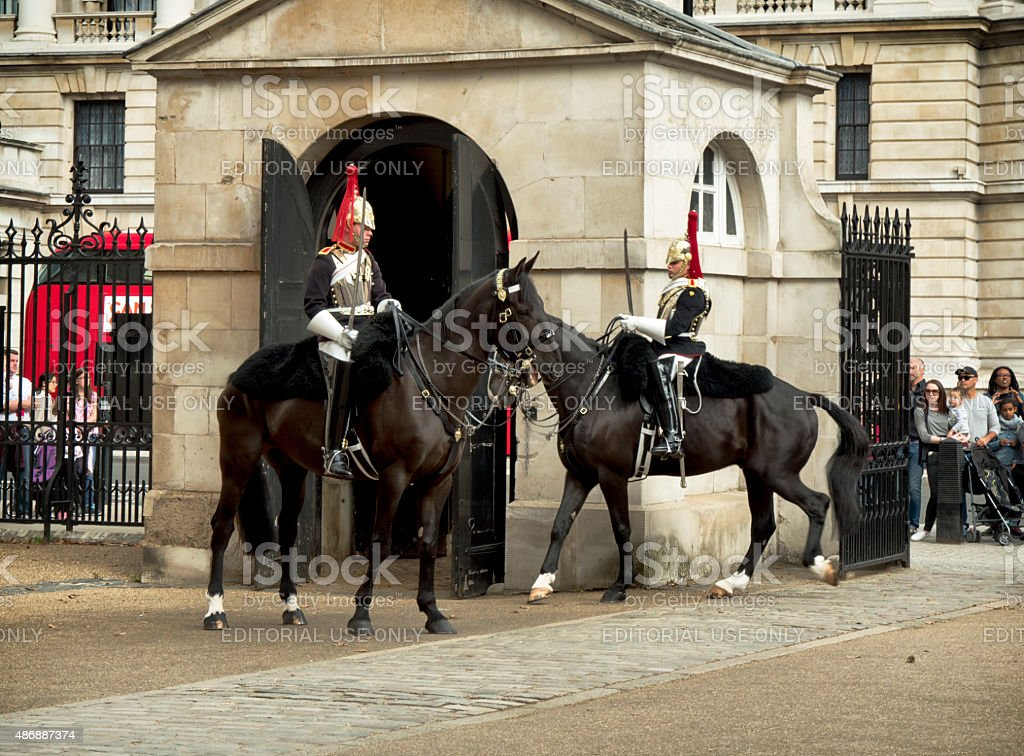 Mounted sentries, Horse Guards Parade stock photo