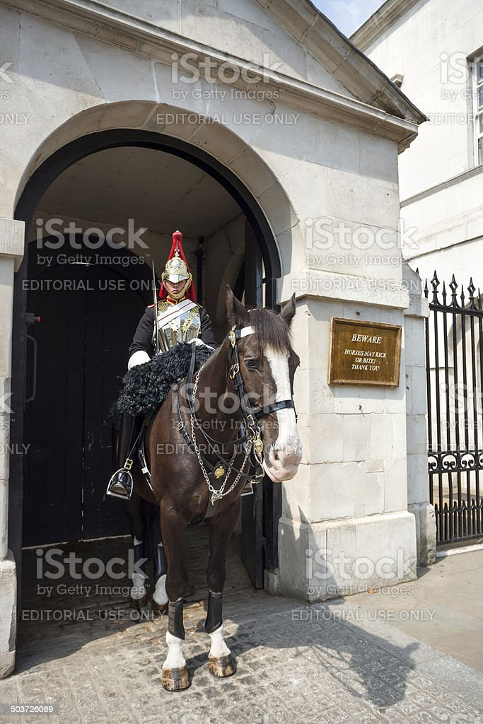 Mounted trooper in front of the Horse Guards Building, London stock photo