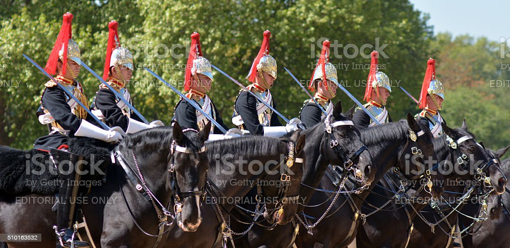 Mounted troopers of the Household Cavalry during ceremony at Hor stock photo