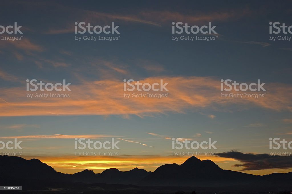Mountian Silhouette Sunset stock photo