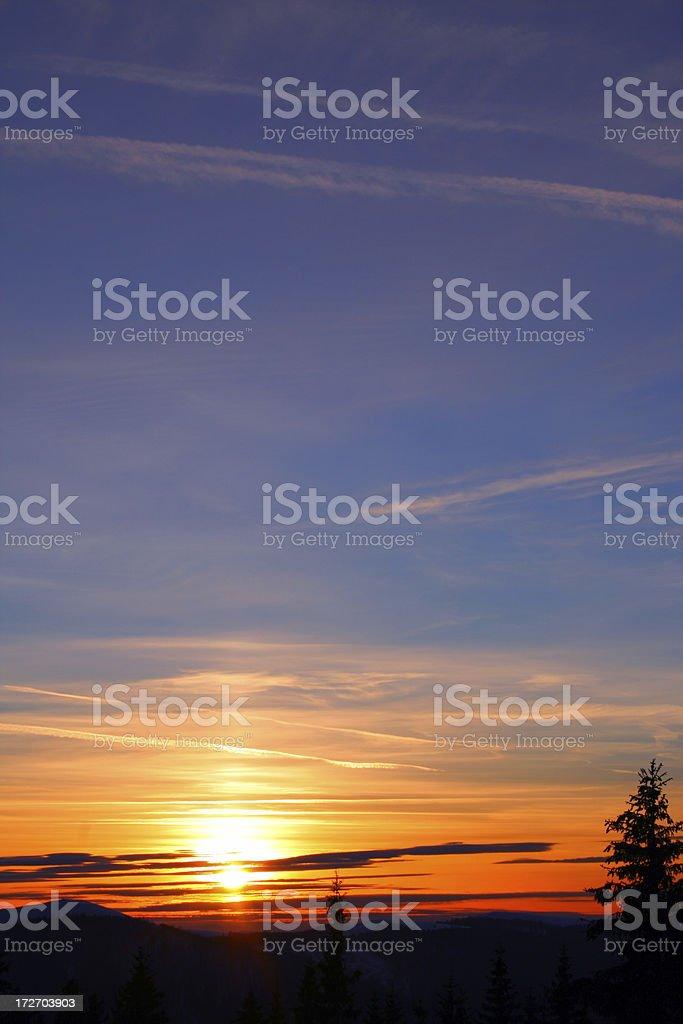 mountin sunset stock photo