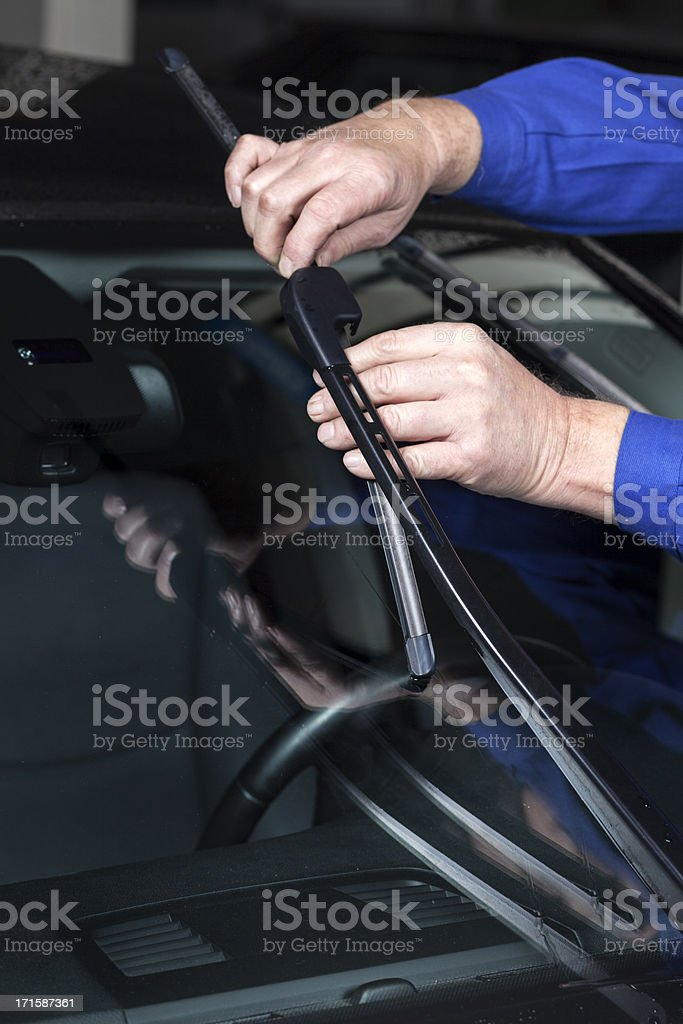Mounting a new windscreen wiper stock photo