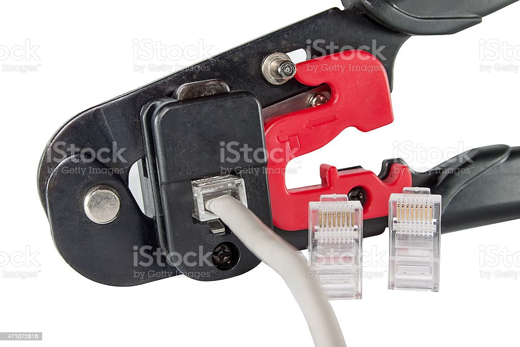 Mounting clamps, connectors and cable stock photo