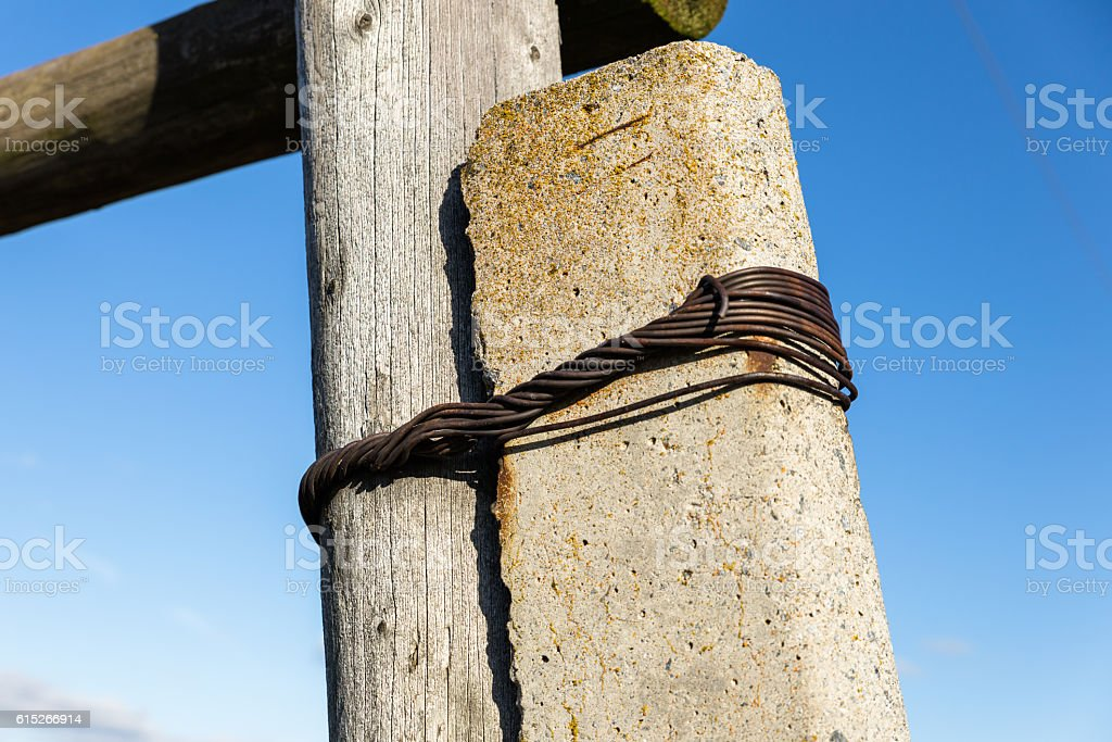 mounting on a support transmission lines stock photo