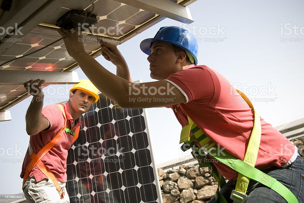 Mounting solarcell panels stock photo