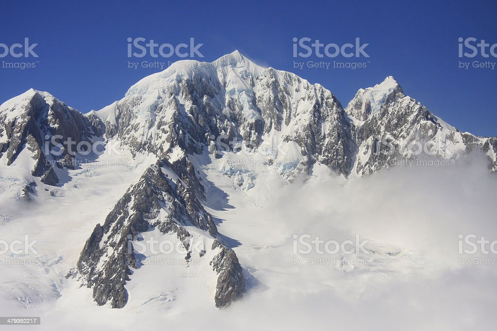 Mounts Cook and Tasman, Southern Alps, New Zealand stock photo