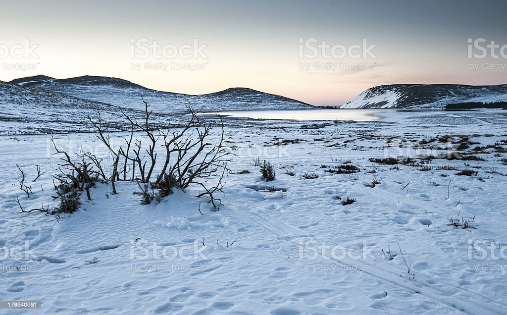 Mourne Mountain Snow Landscapes stock photo